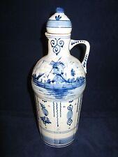 Vntg Blue Delft Hand Painted Decanter Bottle (empty) Hoppe Distilleries Holland
