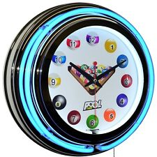"""Billiards Pool Time 15"""" Blue Double Neon Clock Man Cave Game Room Home Decor"""