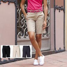Womens Womans Ladies Girls Henbury Ladies Flat Fronted Chino Shorts Sizes 8-18