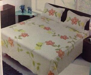 White Spring Vine Tufted Chenille Orange Flower Floral Bedspread Set