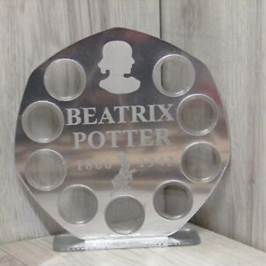 silver 50p 9 coins display Stand royal mint Beatrix potter  2017 mirror finish