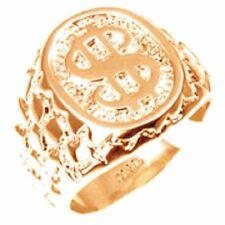 18K  EP  GOLD  ROUND CUT MENS DOLLAR RING sz 11 or V 1/2 BLING