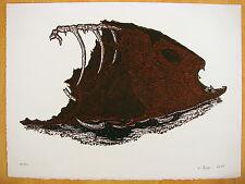 Gravure originale Woodcut 2009 Poisson signé Scher Paula ?? 70/100