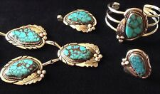 and Sterling Silver Set Rare, Handmade, 4 Piece, Turquoise