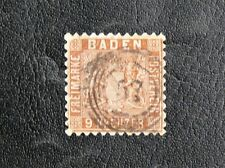 TIMBRES D'ALLEMAGNE : 1862 BADE YVERT N° 15 - 9 K. BRUN Oblitéré - TRES BON ETAT
