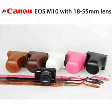 Leather Case Holster for Canon EOS M10 with 18-55mm Lens