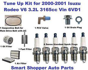Tune Up Kit for 2000-2001 Isuzu Rodeo Serpentine Belt, Spark Plug, Air Filter