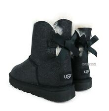 UGG Bailey Bow Mini Sparkle Black Suede Fur Boots Womens Size 10 *NEW*