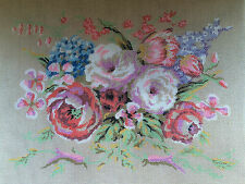 Vintage Needlepoint Tapestry Embroidery Canvas Bevy of Blossoms Vintage Meighan