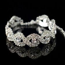 Elegant Women clear Crystal Rhinestone Infinity Bangle Bracelet Deluxe Jewelry