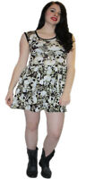 LADIES NEW BLACK & WHITE SKULLS ROSES VINTAGE ROCKABILLY SWING 50'S PARTY DRESS
