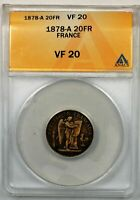 1878-A France 20 Francs Gold Coin ANACS VF-20