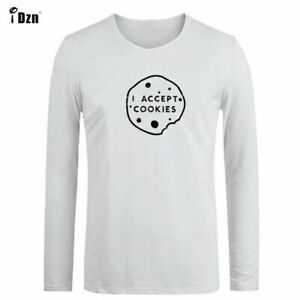I Accept Cookies Design Mens Cotton T-Shirts Graphic Tee Print Sport Tops Shirts