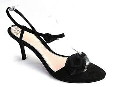 PRESTAGE LADIES BLACK SUEDE LEATHER ANKLE STRAP HEELS CASUAL SANDALS UK 5 -EU 38
