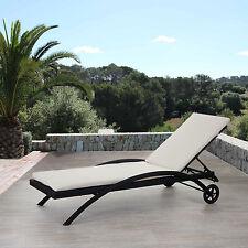 Chaise longue Kastoria, polyrotin, bain de soleil ~ anthracite, coussin crème