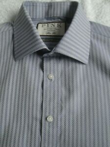 THOMAS PINK  BLUE PATTERNED SHIRT SLIM FIT@Seasonal Collection'    SIZE:  15.5""