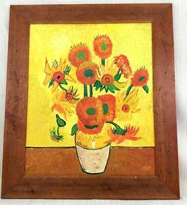 Original Impressionist Painting After Vincent Van Gogh Sunflowers Framed Canvas