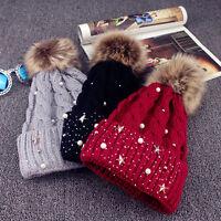 Ladies Womens Winter Warm Knitted Beanie Ski Hat Faux Fur Bobble Pom Pom Cap