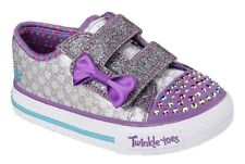 Girls Skechers Twinkle Toe Sweet Steps Light-Up Shoes Purple and Silver Sparkle