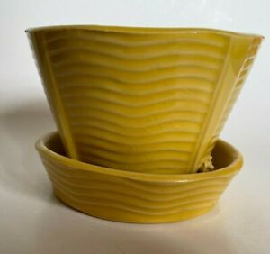 McCoy Pottery 1950's  Yellow Wave Swirl Flower Pot w/Attached Saucer MCM