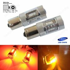 2x SAMSUNG LED CHIPS 581 AMBER INDICATOR CAR BULBS OFFSET PINS 12V 21w BAu15s
