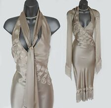 Karen Millen Beige 20's Gatsby Noir Downton Tassel Hollywood VTG Style Dress 10