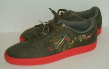 Puma Suede Court Classic Dragon Embroidered Mens Shoes Olive Red 368359 01