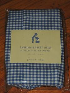 POTTERY BARN KIDS BLUE GINGHAM SABRINA BASKET LINER EXTRA SMALL XS NEW