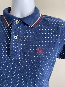 Fred Perry Men's Shirt Polo Blue Polka Dot Size Medium (M)