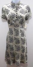 NWT Mgr Silver Black Floral Herringbone Kimono Button Down Empire Waist Dress 9
