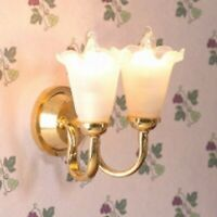 1/12 Scale Dolls House Emporium Double Tulip Wall Lamp, Light 12V 7056