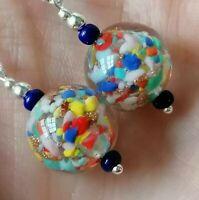 Vintage Venetian Multicolour Sommerso 925 Sterling Silver Drop Dangle Earrings