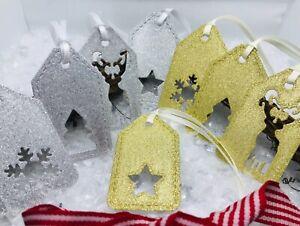 8 Handmade Christmas Secret Santa Gift Tags - Gold & Silver Glitter - Die Cut