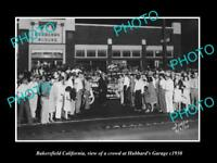 OLD LARGE HISTORIC PHOTO OF BAKERSFIELD CALIFORNIA, HUBBARD MOTOR GARAGE c1930