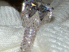Argento 8 Carati Diamante Simulato LUSSO esagerate wedding Engagement Ring P