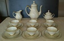 ANTIQUE BAVARIA THOMAS IVORY GOLD CHINA COFFEE TEA SET FOR 6 + POT CREAMER  BOWL