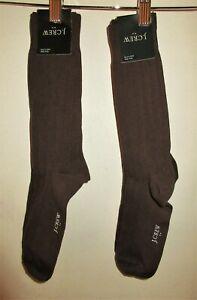 Lot 2 pair One Size J Crew woman brown dress socks designer cotton nylon spandex