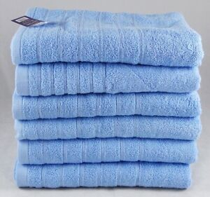 Sky Blue Face Cloths Small Towels 30cm x 30cm Egyptian Cotton 525gsm Pack of 4