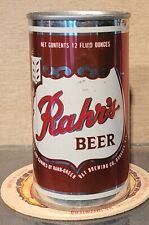 1968 Rahrs Bottom Open Steel Pull Tab Beer Can Rahr-Green Bay Brewing Oshkosh Wi