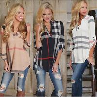 Fashion Womens Ladies Casual T-Shirt Plaid 3/4 Sleeve Shirt Loose Blouse Tops