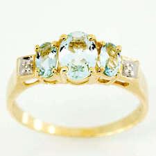 Natural Aquamarine Three-Stone Fine Rings