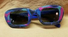 Vintage 1970s Italian Sunglasses New Old Stock, Blue , Fabric Covered