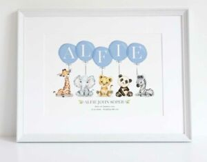 Animal Safari Personalised Balloon Name Birth Nursery Print ChristeningUNFRAMED