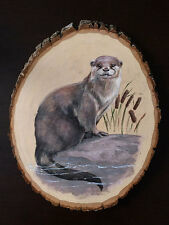 Otter Original Animal Wildlife Acrylic Painting Wood Art Artwork Canada Realism