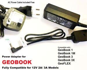 GeoBook  Laptop Charger, 12v 3A/ 2A for GeoBook3x, GeoBook3 Geo Book 3 X