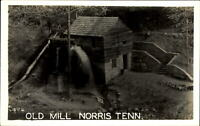 RPPC Old Grist Mill Norris Tennessee ~ waterwheel ~ Photo postcard 1939-1950