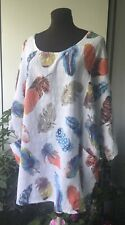Size 16,18,20,22,24,26,28, Cotton Tunic, White Base, Lagenlook , Lovely!