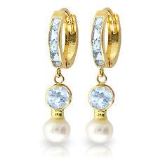 4.3 CTW 14K Solid Gold Hoop Earrings pearl Aquamarine