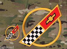 """VETTE CORVETTE RACE TEAM 1984-1996 C4 FRONT HOOD NOSE EMBLEM 9.5"""" + 3.5"""" 2-PATCH"""