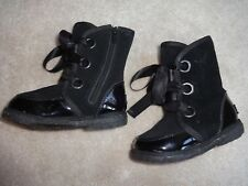 Pediped Baby Girl Boots 6 6.5 US 22 Black Winter Shoes Fur Leather Warm Sheep